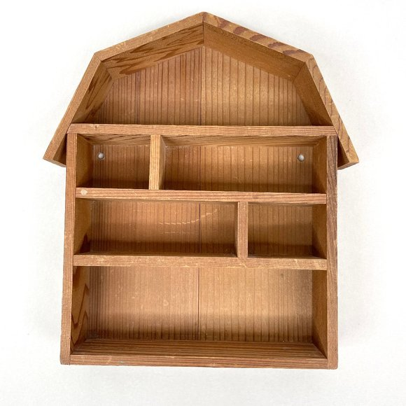 Vintage Barn Shaped Wood Trinket Shelf